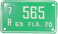 1969 - 70 Florida Motorcycle License Plate in Excellent Plus condition