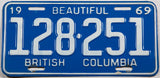 A classic 1969 British Columbia Canadian car license plate in excellent minus condition