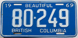 A classic 1969 British Columbia Canadian car license plate in very good plus condition