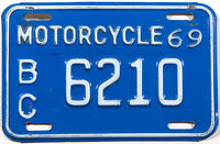 A classic 1969 British Columbia motorcycle license plate in very good plus condition