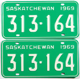 A classic pair of unused 1969 Saskatchewan passenger car license plates in NOS excellent plus condition with original wrapper