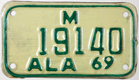 A NOS 1969 Alabama Motorcycle License Plate in excellent minus condition
