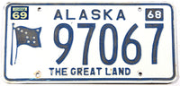 A classic 1969 Alaska passenger car license plate in very good plus condition