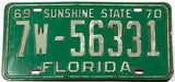 1969 - 1970 Florida car license plate in very good condition