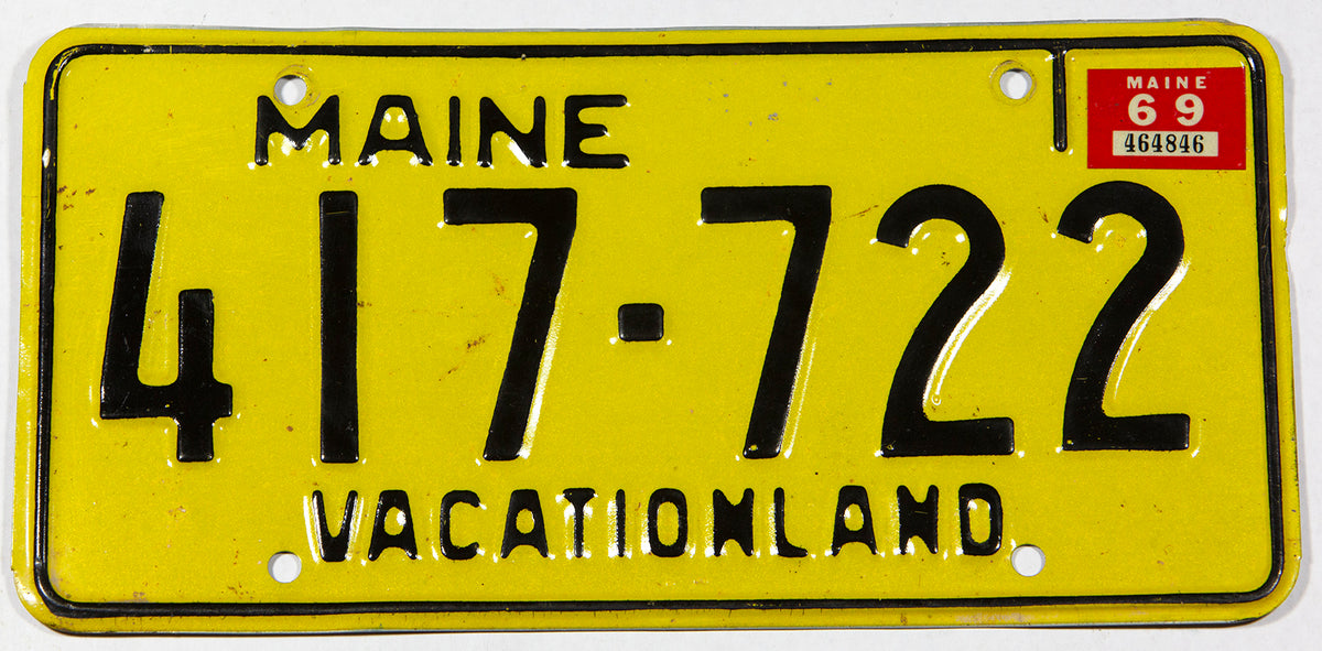 A classic 1969 Maine car license plate in very good plus condition
