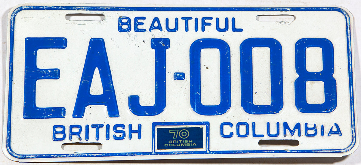 A classic 1970 British Columbia passenger car license plate in very good plus condition