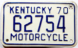 A 1970 Kentucky Motorcycle License Plate for sale at Brandywine General Store in very good plus condition with minor bends