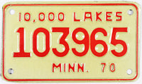 1970 Minnesota Motorcycle License Plate