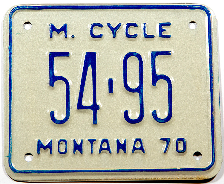 A classic 1970 Montana motorcycle license plate in new old stock Excellent Plus condition