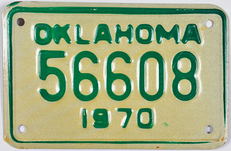 1970 Oklahoma Motorcycle License Plate Excellent MInus condition