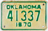 1970 Oklahoma Motorcycle License Plate Very Good condition