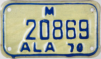 1970 Alabama Motorcycle License Plate in excellent minus condition