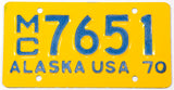 A classic NOS 1972 Alaska motorcycle license plate in unused Near Mint condition with original wrapper