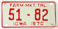 1970 Iowa Farm Market Trailer License Plate