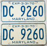 A pair of 1970 Maryland passenger car license plates
