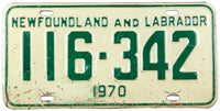 A classic 1970 Newfoundland and Labrador passenger car license plate in very good condition