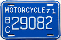 A classic 1971 British Columbia motorcycle license plate in NOS excellent condition