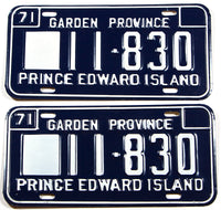 A classic pair of 1971 NOS heavy truck license plates in near mint condition from Prince Edward Island, Canada