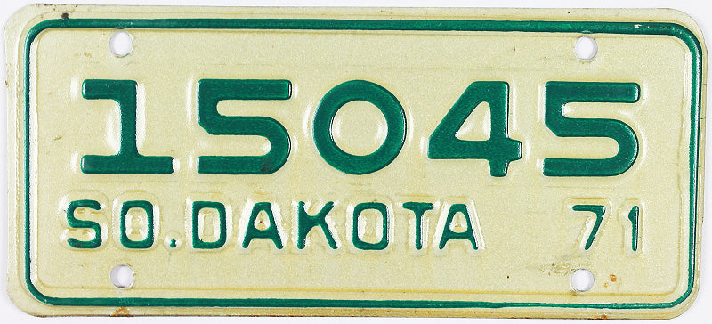 1971 South Dakota Motorcycle License Plate