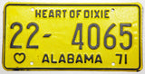 1971 NOS Alabama Passenger Car License Plate in Excellent minus condition