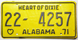 1971 NOS Alabama Passenger Car License Plate in exc to exc + condition