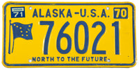 A 1971 Alaska passenger automobile license plate