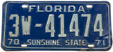 1970 - 71 Florida car license plate in very good condition