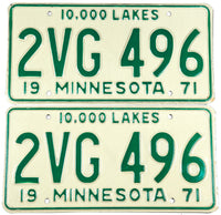 1971 Minnesota car license plates in new old stock excellent plus condition