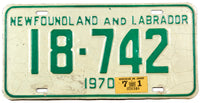 A classic 1971 Newfoundland and Labrador passenger car license plate in very good condition