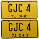 1971 Ohio car license plates DMV #GJC-4