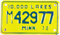 1972 Minnesota Motorcycle License Plate