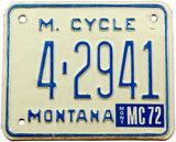 A classic 1972 Montana motorcycle license plate for sale by Brandywine General Store in excellent minus condition