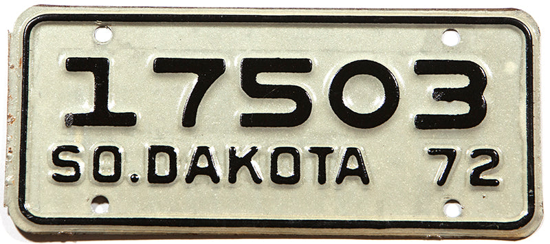A classic 1972 South Dakota motorcycle license plate for sale at Brandywine General Store in New Old Stock Excellent condition with original wrapper