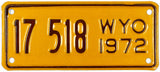 1972 Wyoming Motorcycle License Plate