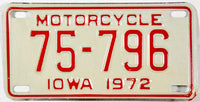 An unused new old stock 1972 Iowa Motorcycle License Plate