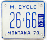 1972 Montana motorcycle license plate in excellent minus condition
