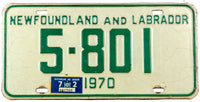 A classic 1972 Newfoundland and Labrador passenger car license plate in very good condition