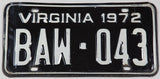 1972 Virginia License Plate single tag Very Good Plus