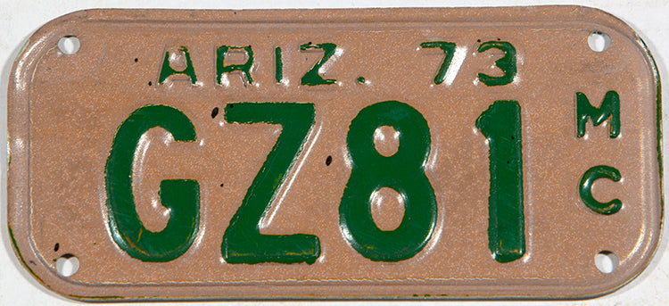A 1973 Arizona motorcycle license plate in very good plus condition