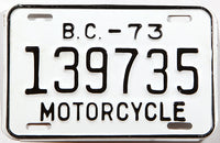 A classic 1973 British Columbia motorcycle license plate in excellent plus condition