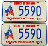 A pair of 1973 Presidential Inauguration car license plates for Richard Nixon in New Old Stock Excellent condition