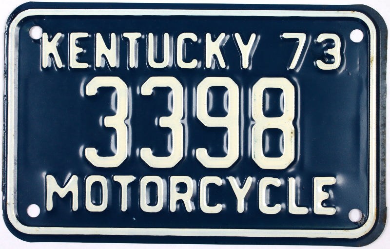 1973 Kentucky Motorcycle License Plate