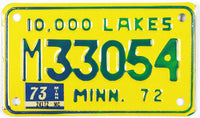 1973 Minnesota Motorcycle License Plate