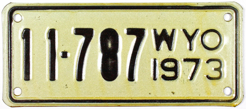 1973 Wyoming Motorcycle License Plate in excellent minus condition
