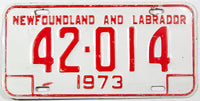 A 1973 Newfoundland and Labrador passenger car license plate in very good plus condition