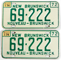 A pair of 1974 New Brunswick car license plates in very good plus condition