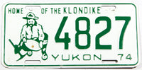 A 1974 Yukon, Canada car license plate in excellent minus condition