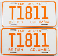 A classic pair of unused 1974  British Columbia logging truck license plates in NOS Excellent plus condition