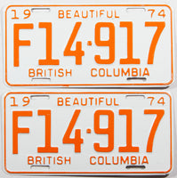A classic pair of 1977 NOS British Columbia farm tractor license plates in excellent plus condition