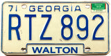 A 1974 Georgia Passenger Car License Plate in very good plus condition from Walton county